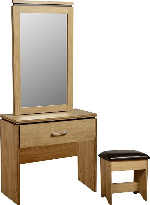 Charles 1 Drawer Dressing Table Set Oak Effect Veneer With Walnut Trim Brown Faux Leather